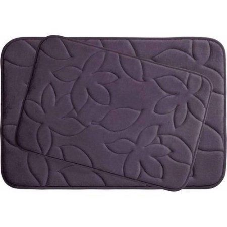Blowing Leaves Premium Extra Thick 2-Piece Memory Foam Bath Mat Set with Bounce Comfort Technology, Purple