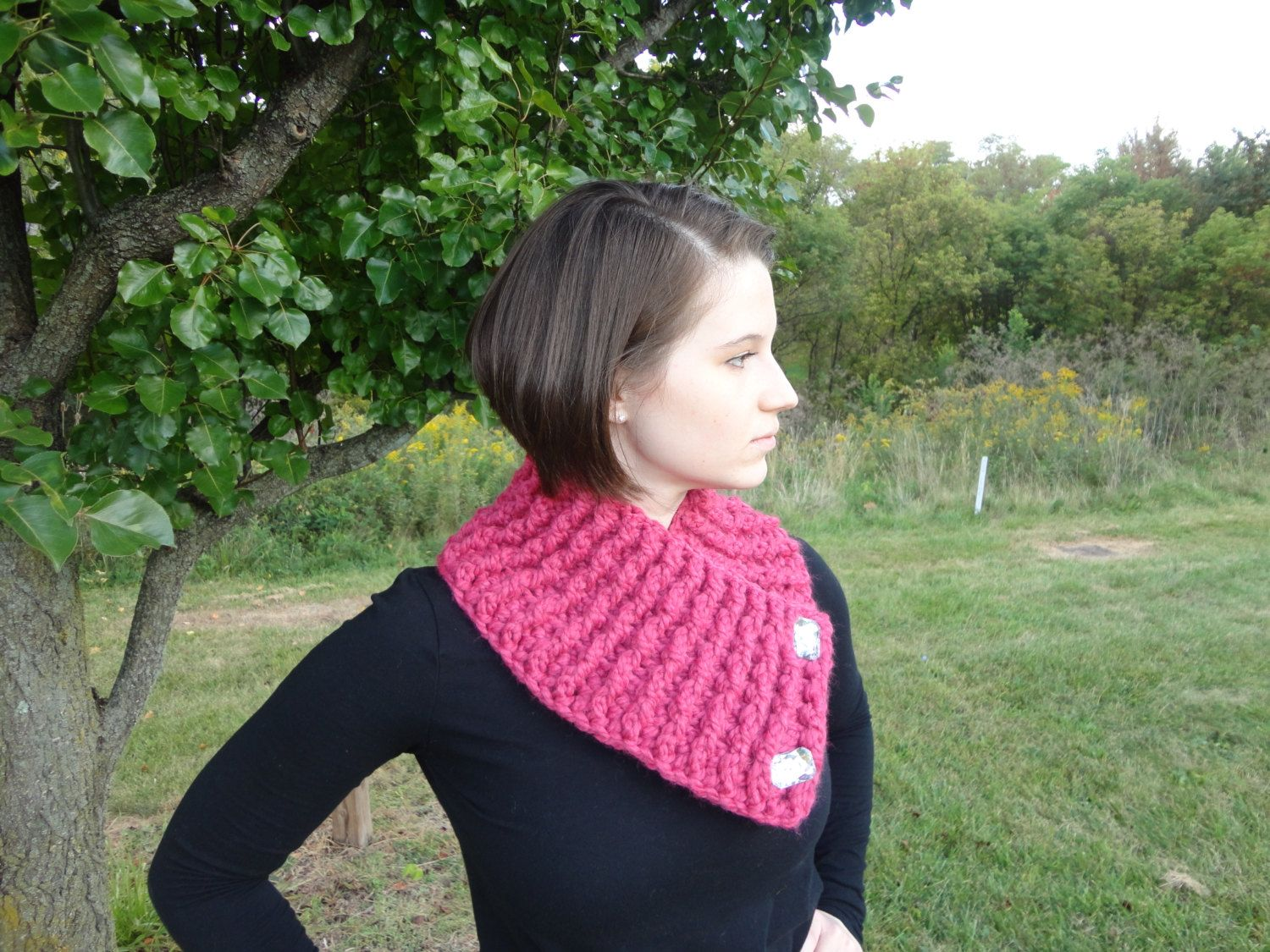 Pink Neck Warmer Crochet Neck Warmer with by TheCrochetLion, $35.00