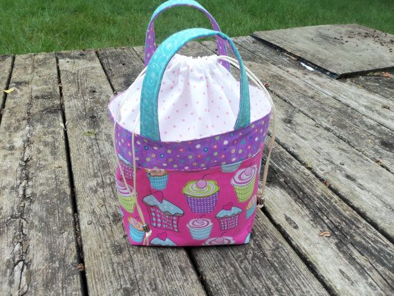 Cupcake  Lunch tote / project bag by StitchedNaturally on Etsy, $34.00