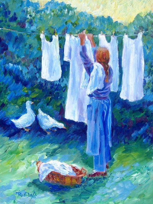 """""""Hanging the Whites"""" - by Trudi Doyle ~Watercolor"""