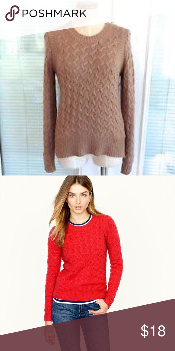 J. Crew Wool Cable Knit sweater Beautiful camel colored wool sweater. Looks great over your favorite plaid shirt or paired with jeans and Booties! In excellent condition. S&P free home. J. Crew Sweaters Crew & Scoop Necks
