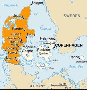 What And Where Is Jutland Denmark Map Denmark Kingdom Of Denmark