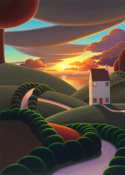Summer Nights – a cheerful canvas on board by popular landscape artist Paul Corfield, as part of our Autumn 2017 collection.