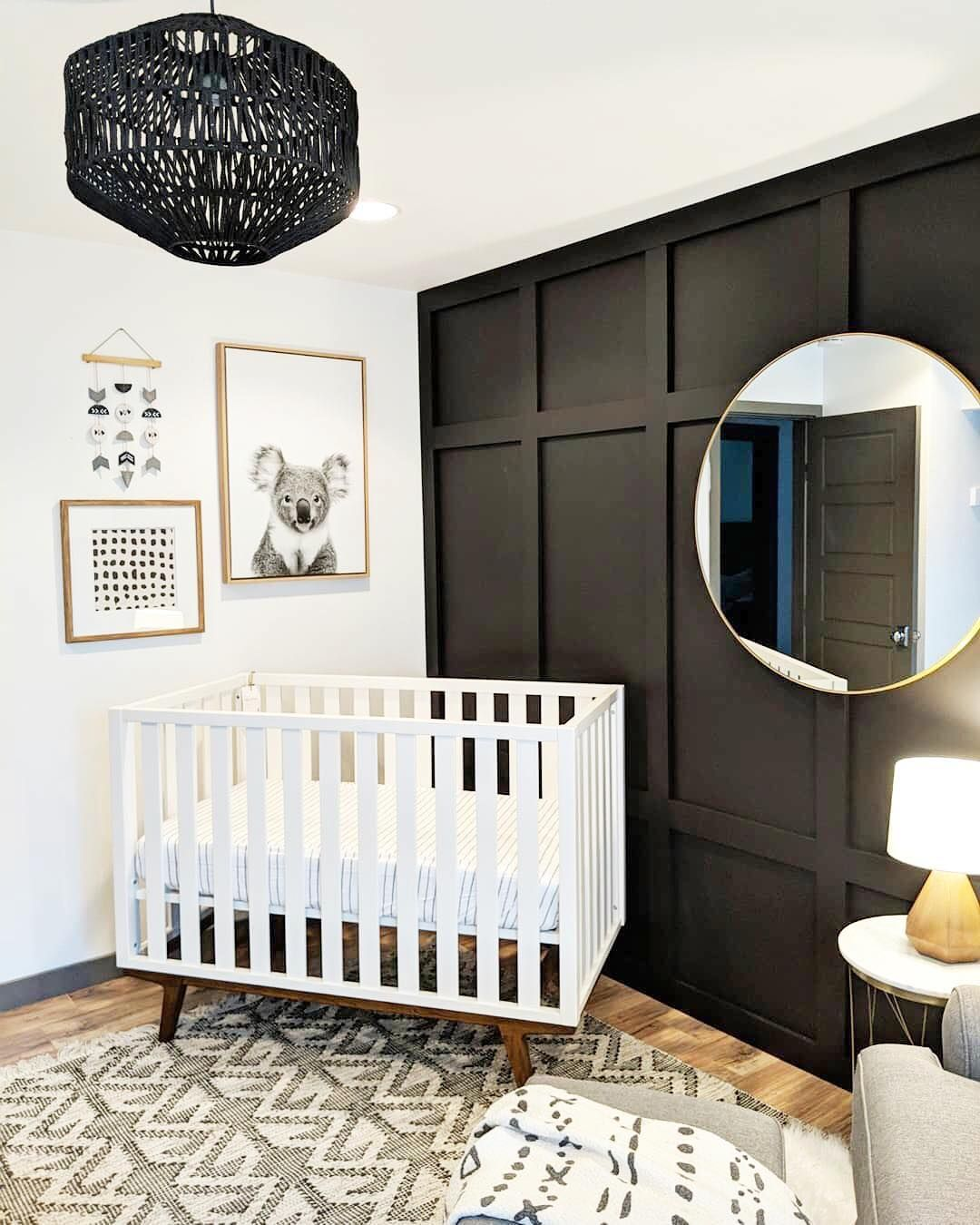 "Project Nursery on Instagram: ""Board + Batten accent walls are on our 2019 Nursery Trends list and it's easy to see why! Plus, we're loving this dark and moody take on…"" #boardandbattenwall"
