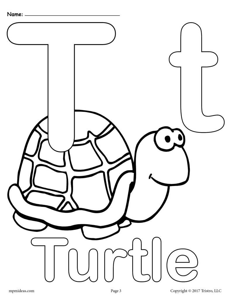 Letter T Alphabet Coloring Pages 3 Printable Versions Alphabet