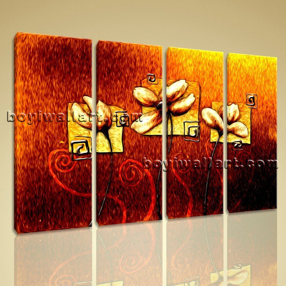 Large abstract acrylic flower paintings floral modern wall art on