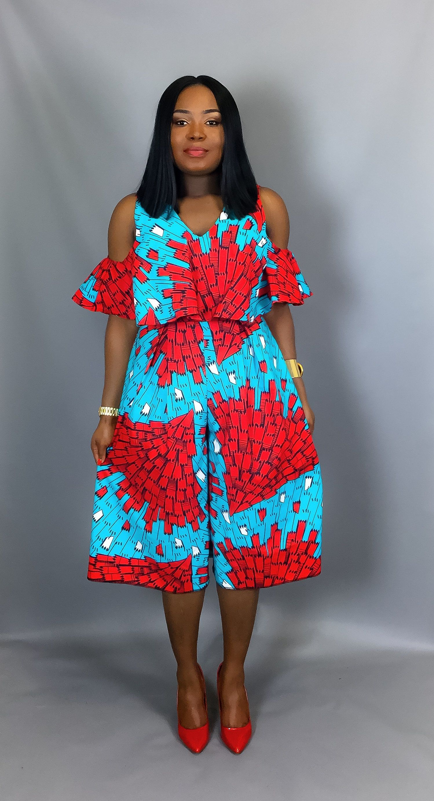 African print off shoulder culottes,African clothing,African print dress,African wax print,robe ...