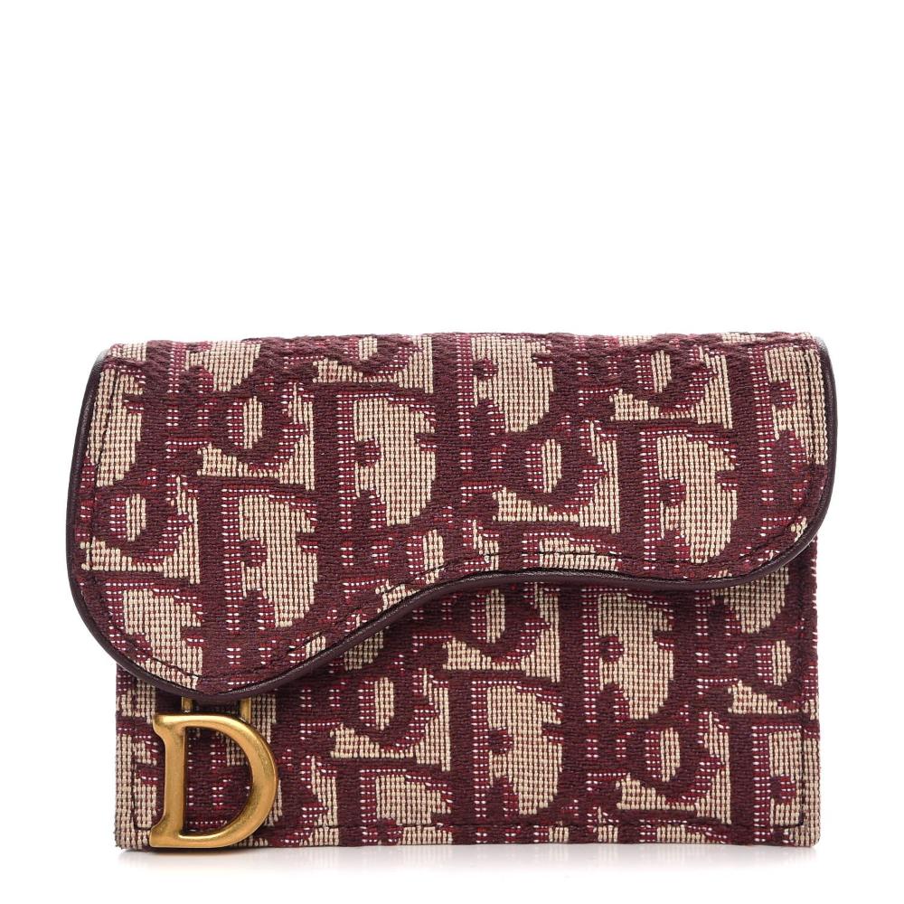 Christian Dior Oblique Saddle Card Holder Bordeaux Fashionphile Dior Burgundy Leather Card Holder