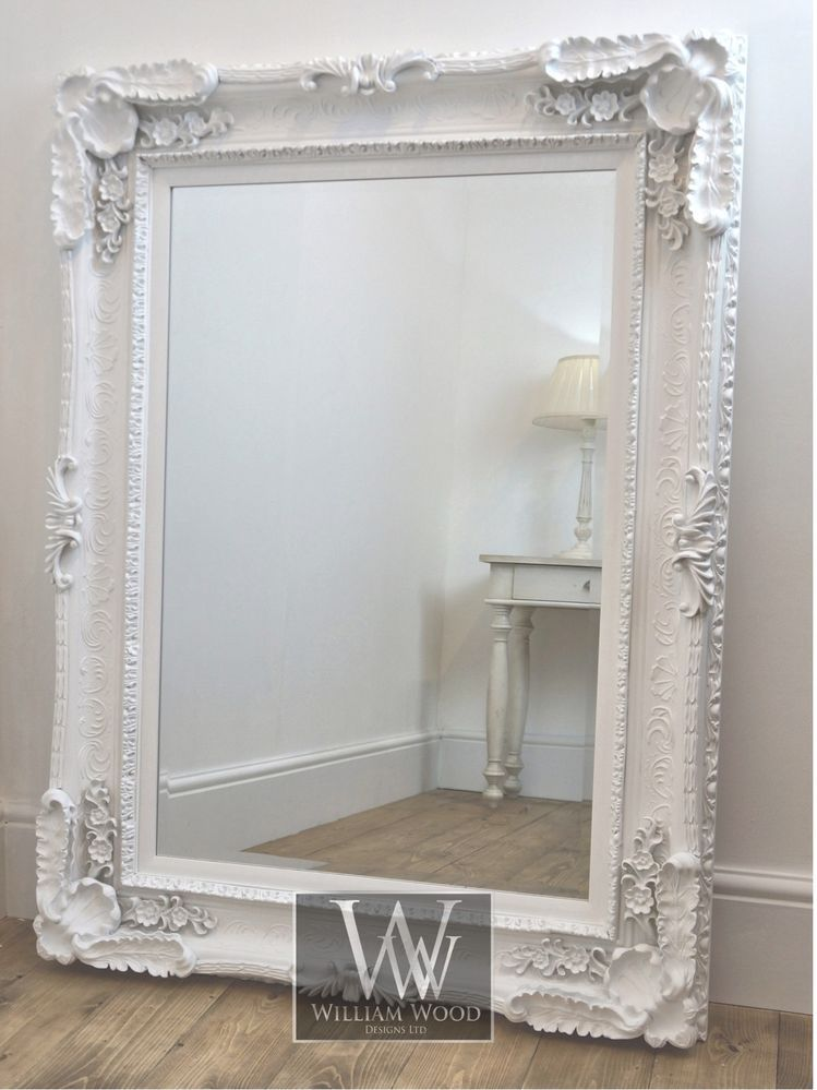Louis style white ornate rectangle antique wall mirror 4 for Large framed mirrors