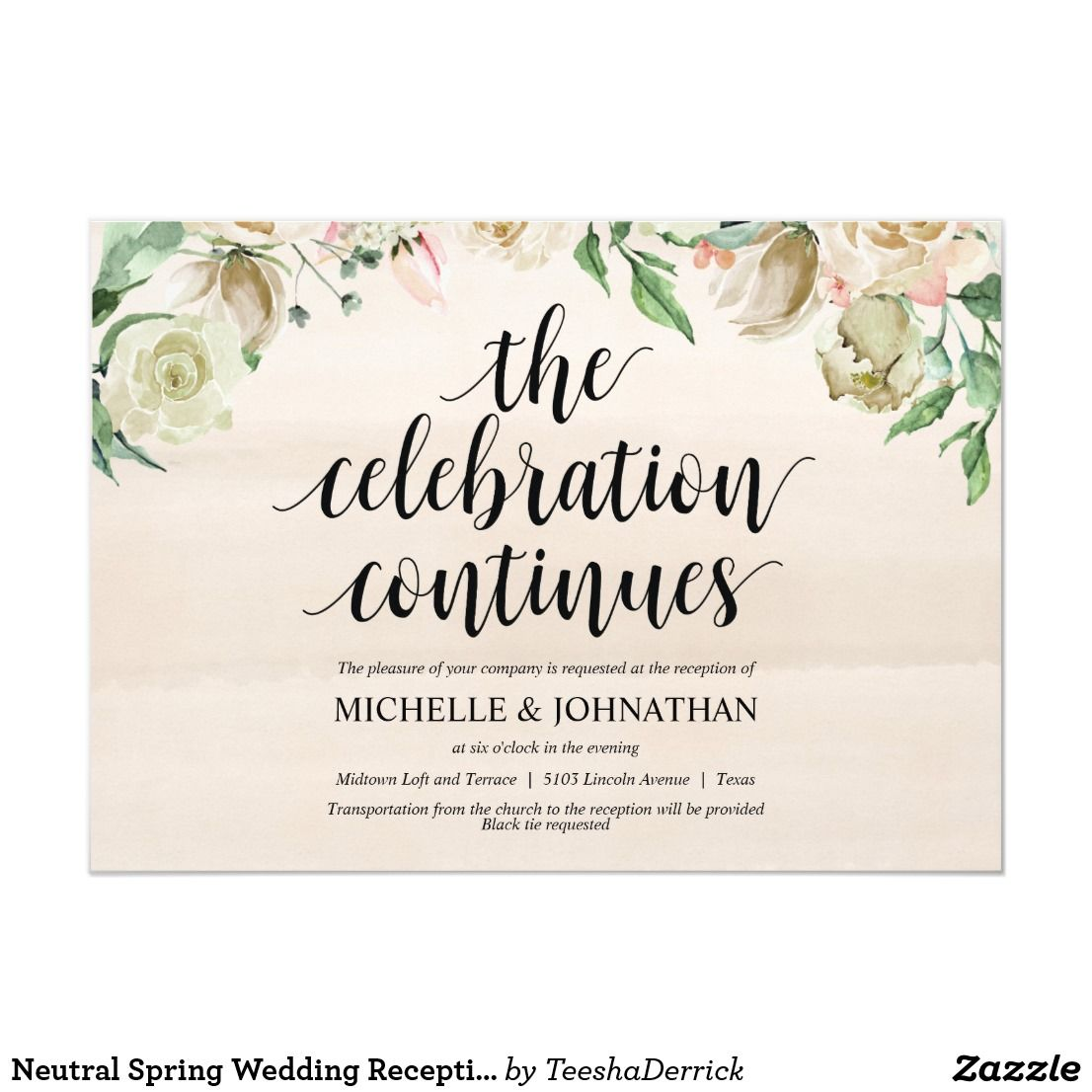 Neutral Spring Wedding Reception Invitation Card