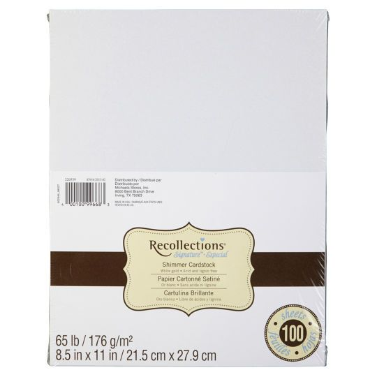 Recollections Cardstock Paper White Gold