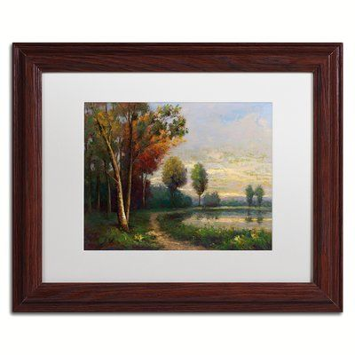 """Trademark Art 'Landscape with a Lake' Framed Painting Print Size: 11"""" H x 14"""" W x 0.5"""" D"""