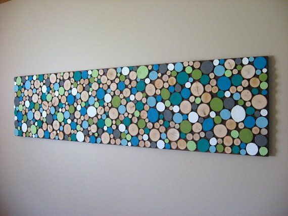 Painted Wood Slice Collage Wall Art 12x48 MADE TO ORDER
