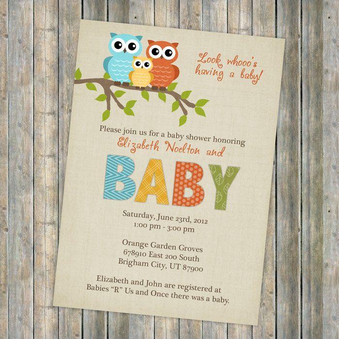 Baby shower invitation, owl baby shower, gender neutral (Orange ...