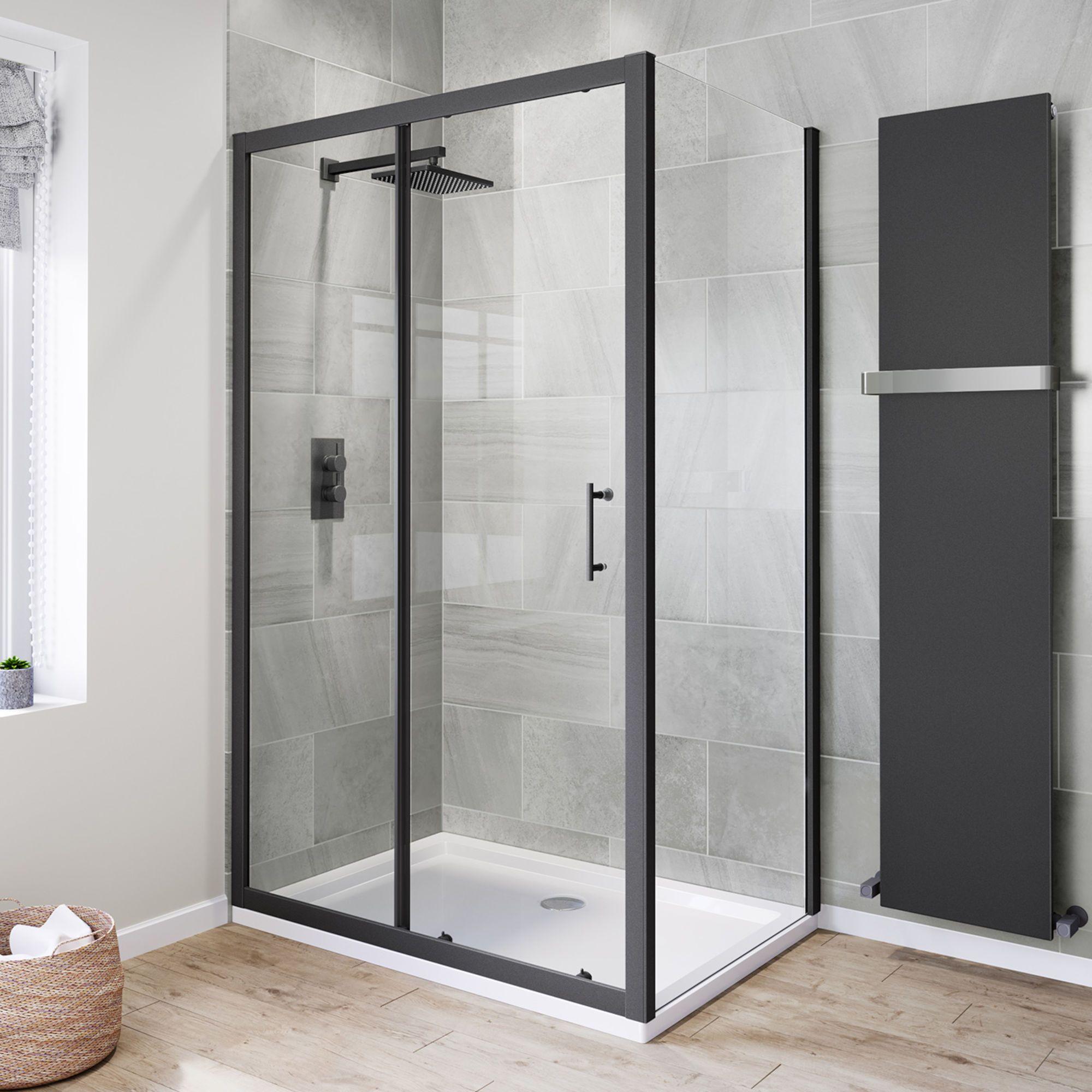 1200x800mm 6mm Black Frame Sliding Shower Enclosure With Silicone Sealant Framed Shower Enclosures Shower Doors Black Shower Doors
