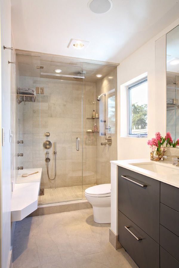 Contemporary Small Luxury Bathroom Design With Compact Size Shower Area And Dark Wood Cabinets