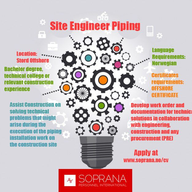 Site Engineer Piping position is availiable! Apply at wwwsoprana - cost engineer sample resume