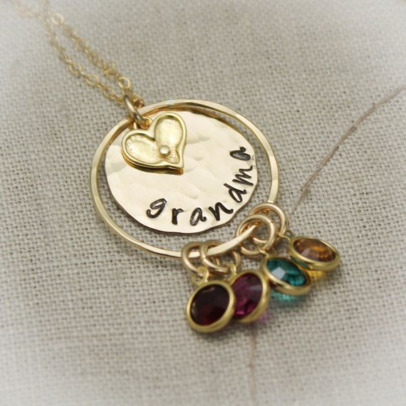 Grandmother Necklace With Birthstones Personalize With Etsy Metal Stamped Jewelry Stamped Jewelry Grandmother Jewelry