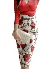 Floral Printed Designed Midi Skirts