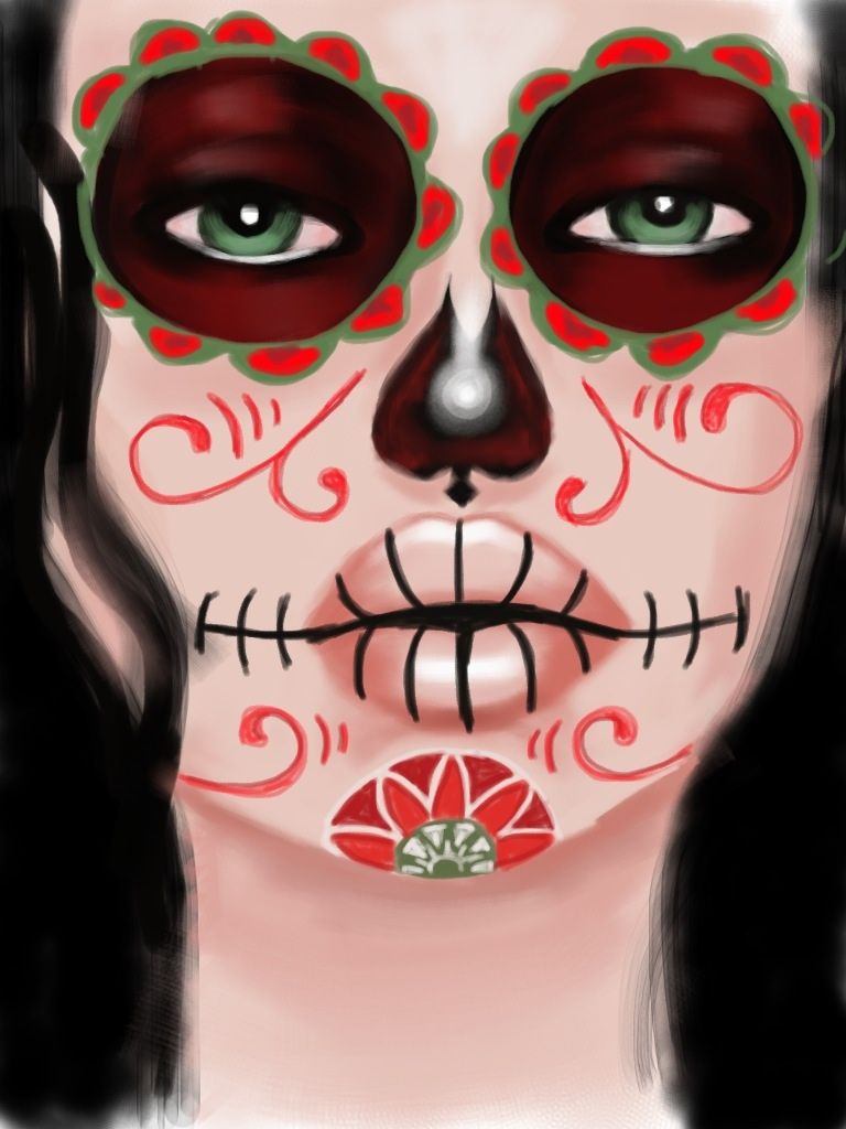 mexican candy skull face paint by sweethear1993 on deviantart - Halloween Skull Face Paint Ideas