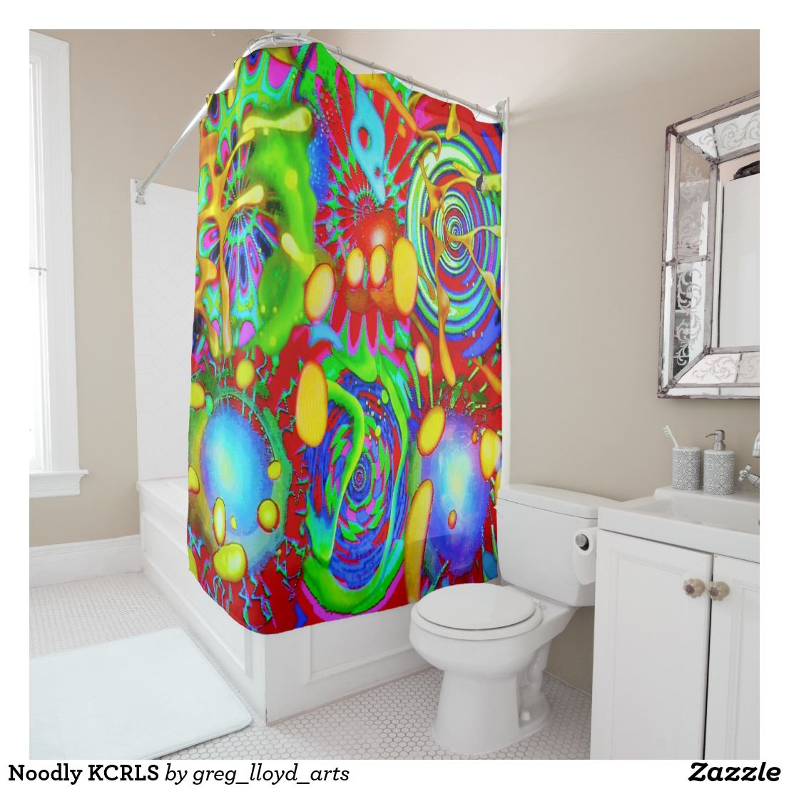 Noodly Kcrls Shower Curtain Custom Shower Curtains Shower