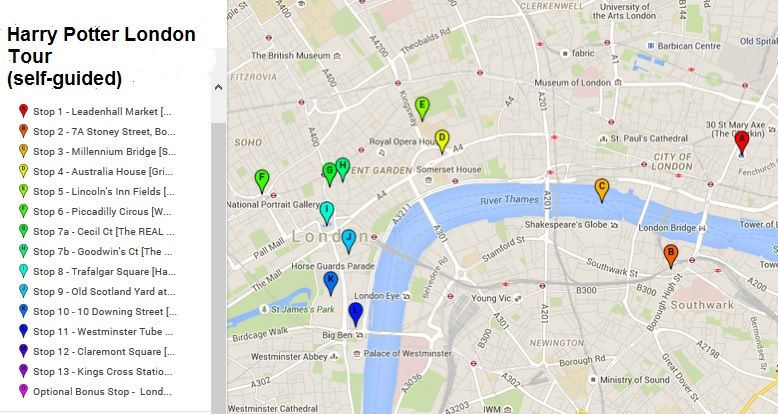 Harry Potter London Tour Map.London Harry Potter Tour Map Harry Potter Tour London
