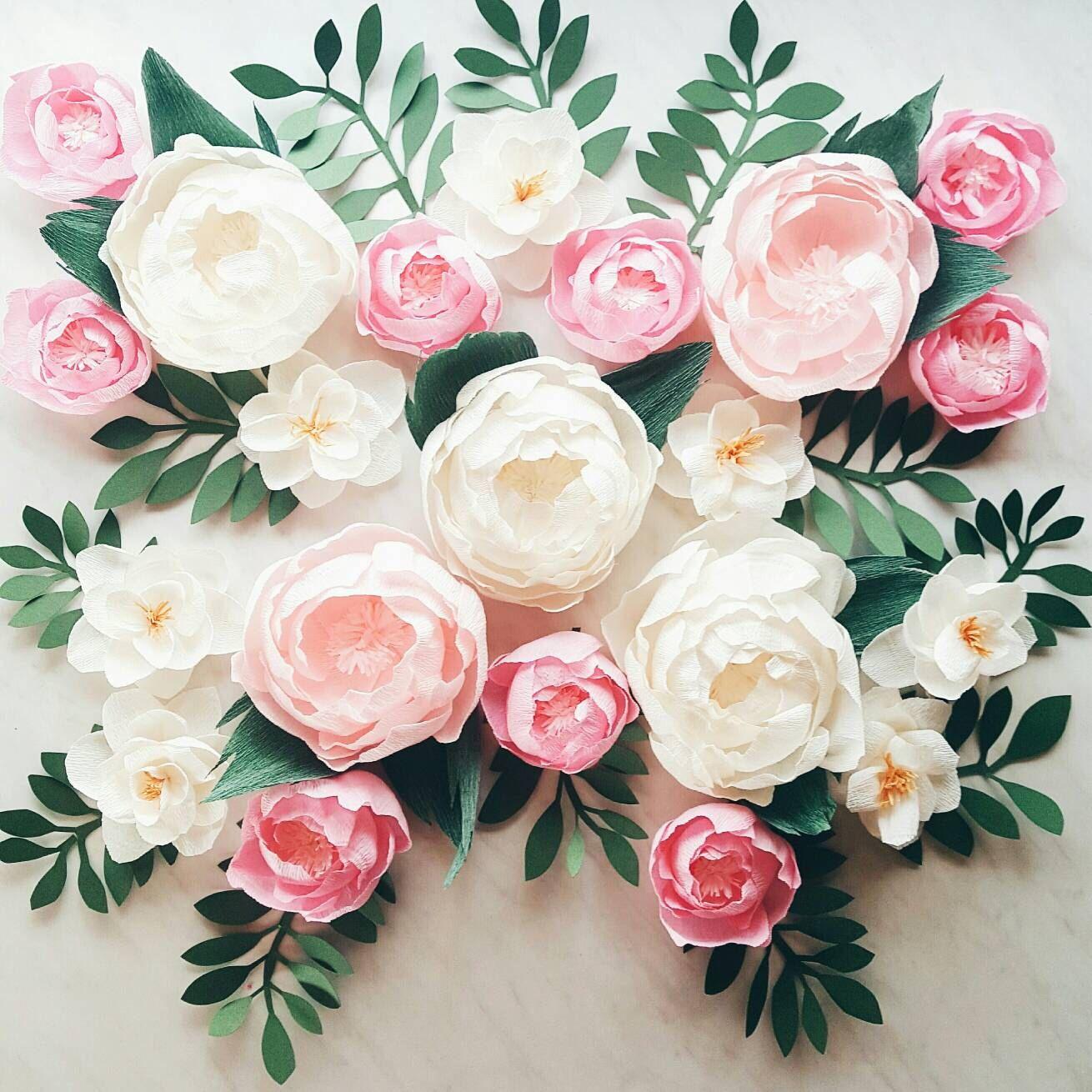 Paper Flower Wall Display Girl Nursery Wall Decor Garden Party