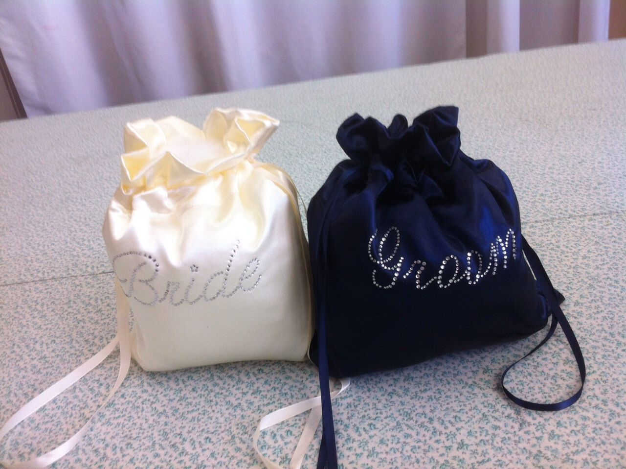 Custom Made Money Bag Dollar Dance Set For Bride And Groom Satin With Rhinestone Accent