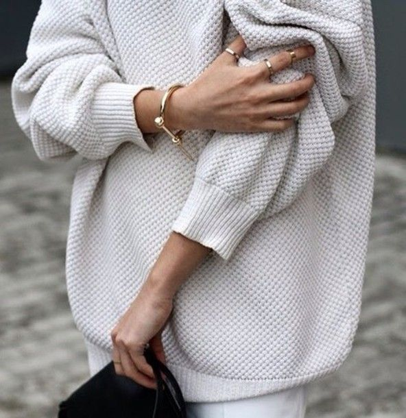 Sweater: oversized beige jewels fine knit jumper cozy comfy fall ...