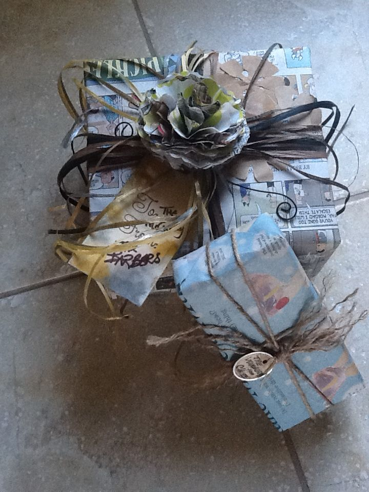 I love using newspaper and recycled materials for gift