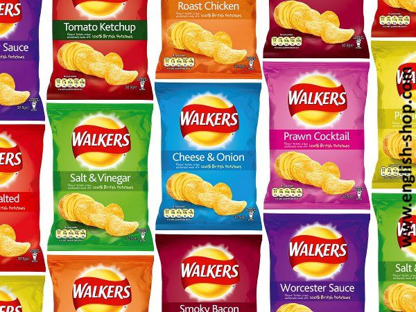 Walkers Crisps. Unverzichtbarer Teil familiärer England-Trips.