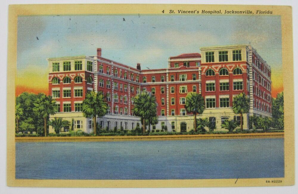 Vtg Postcard St Vincents Hospital Building Linen Jacksonville Florida Unposted St Augustine Florida St Vincent Hospital Vintage Postcards
