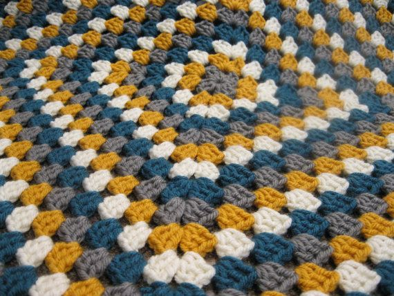 Crochet Baby Blanket Gray Mustard Teal And Ivory Baby Granny Square Afghan With Images Baby Blanket Crochet Crochet Blanket Patterns Easy Crochet Blanket