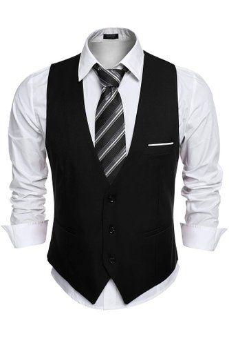 Coofandy Mens V Neck Sleeveless Slim Fit Jacket Casual