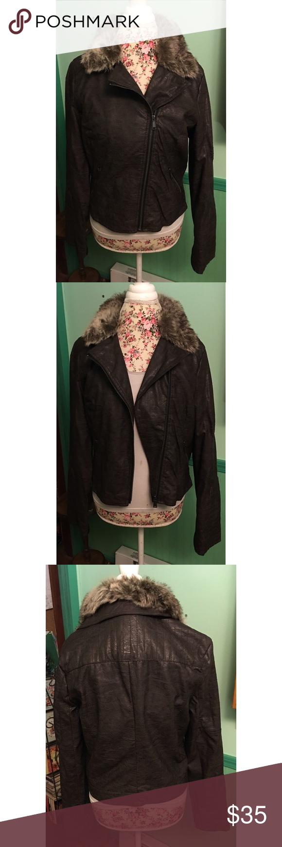 NEW WOMENS SEVENTH AVENUE BROWN  PLEATHER FAUX FUR COLLAR JACKET SIZE LARGE