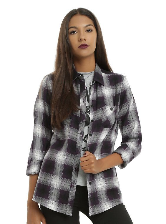 Purple & Ivory Plaid Girls Woven Button-Up, PURPLE