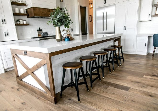 two tone kitchen island free standing counter toned the design of with stained x end panels interior ideas farmhouse decor modern