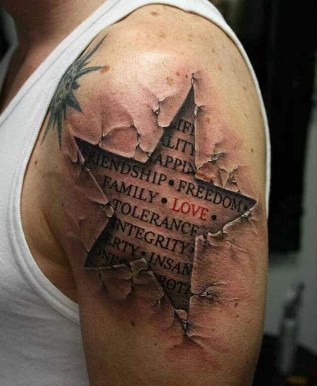 5 Point Star Half Sleeve Tattoos For Guys Freedom Tattoos Star Tattoo Designs