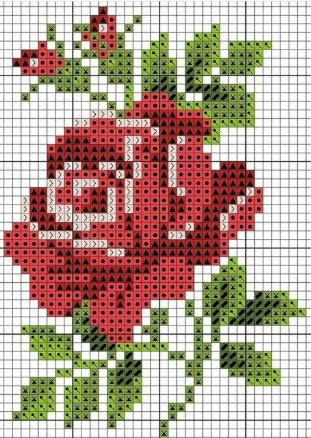 22 Gráficos Incríveis de Rosas em Ponto Cruz para Baixar Grátis | Revista Artesanato