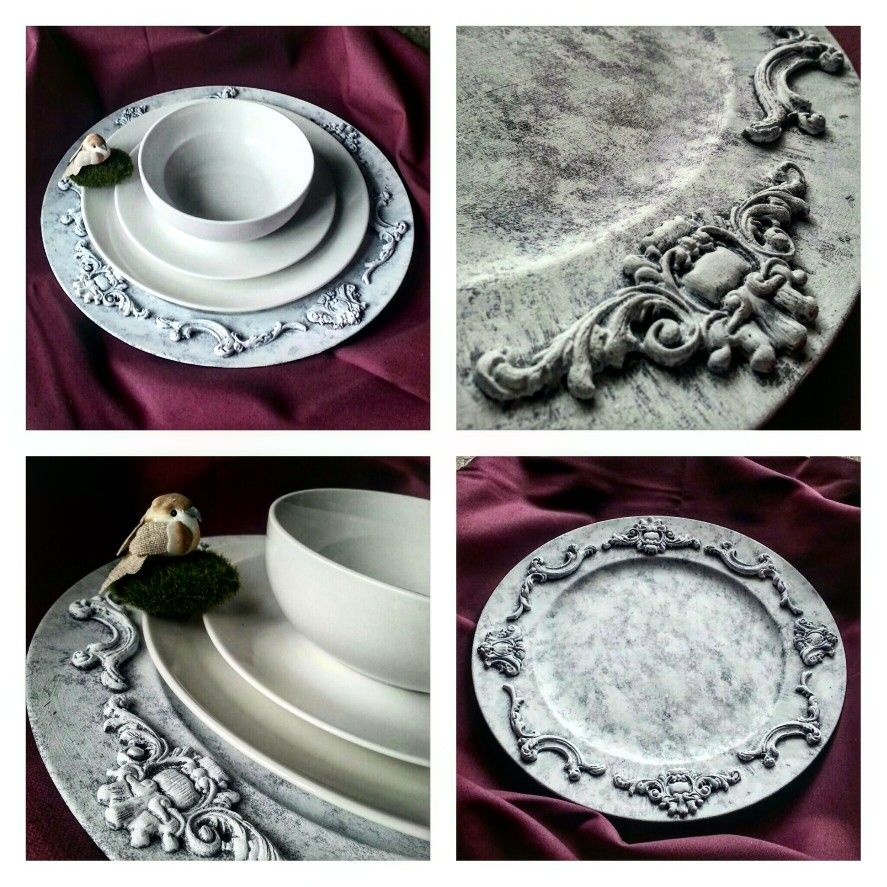 DIY Decorative Plate with Clay Baroque Embalisemts from