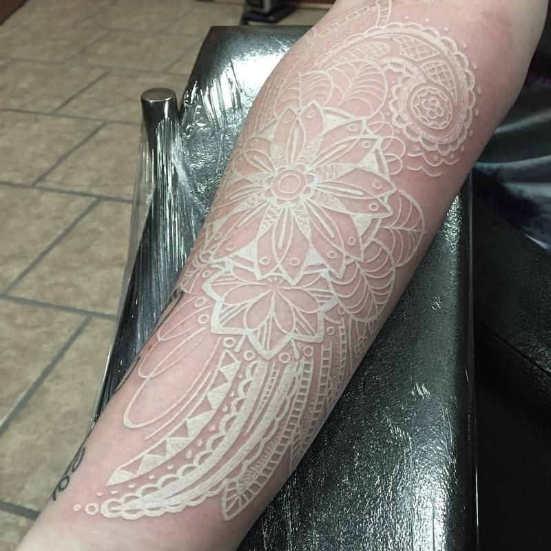 White Ink Paisley Tattoo Sleeve Pin white ink tattoos lace
