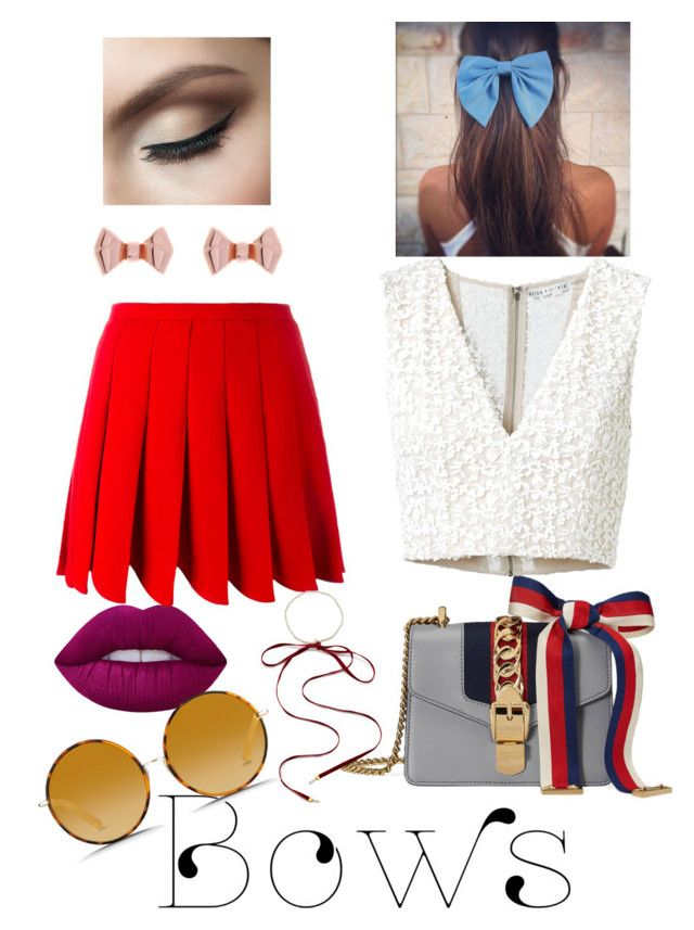"""""""If you like it... put a bow on it!"""" by red-queenlove ❤ liked on Polyvore featuring Gucci, Lime Crime, Miu Miu, Alice + Olivia, Magda Butrym, Matthew Williamson and Ted Baker"""