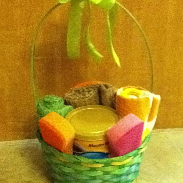 Easter basket idea for daycare dish towels coffee bowls etc easter basket idea for daycare dish towels coffee bowls etc negle Choice Image