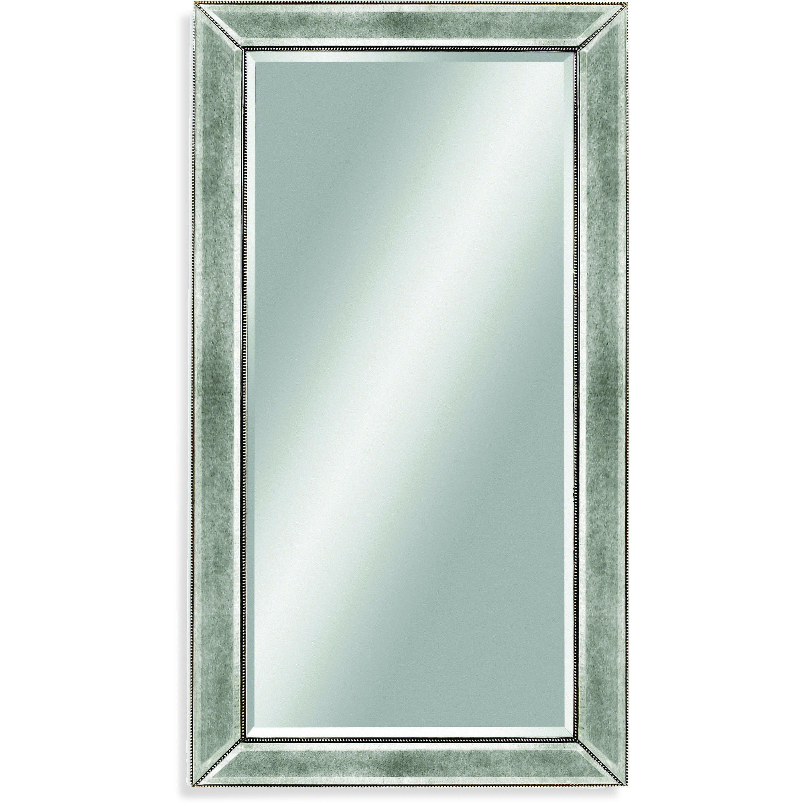 "Bassett Mirror Beaded Wall Mirror Silver Leaf 36"" x 48"" - M1946BEC"