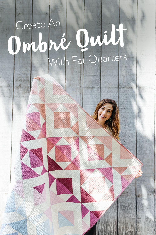 Create an Ombré Quilt with Fat Quarters #modernquiltingdesigns