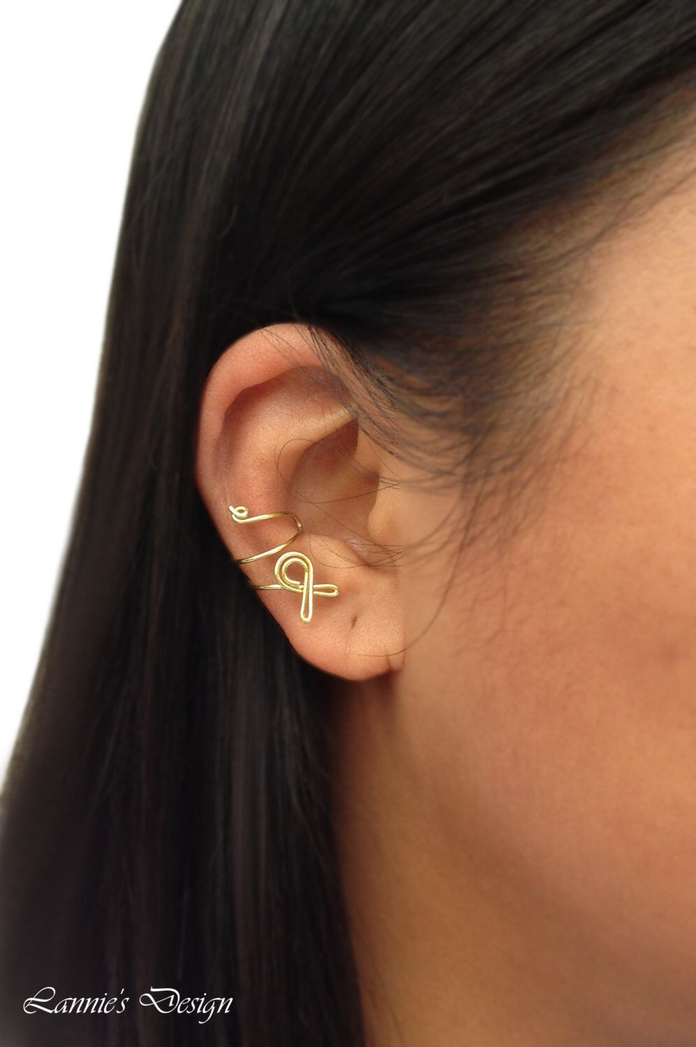 Piercing from nose to ear  Childhood Cancer Awareness Ribbon Gold Ear Cuff No Piercing