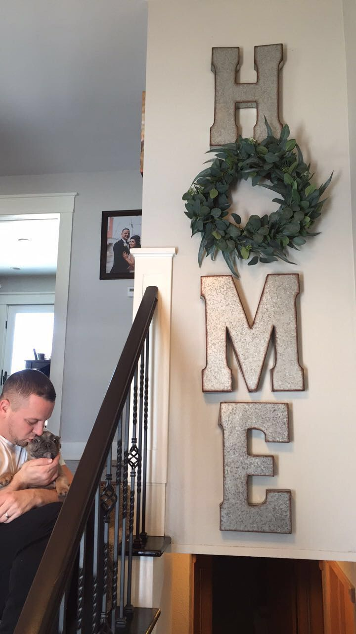 "DIY home sign with the ""O"" as a wreath Decor, Diy home"