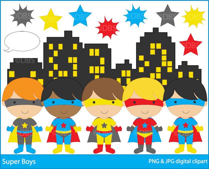 Superhero Clipart Digital Clip Art Super Hero Boys Buy 2 Get 2