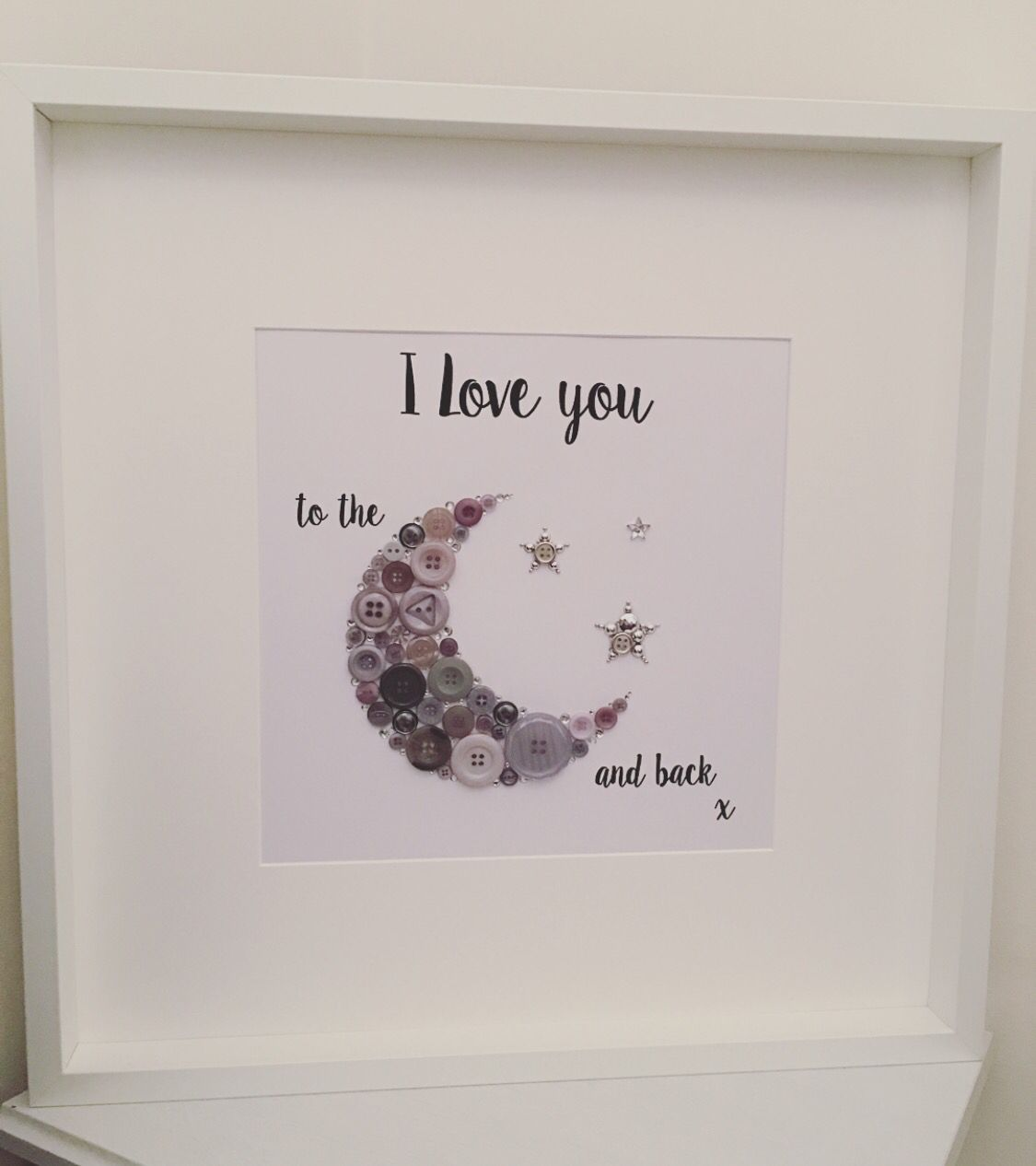 i love you to the moon and back button art picture in large 20in