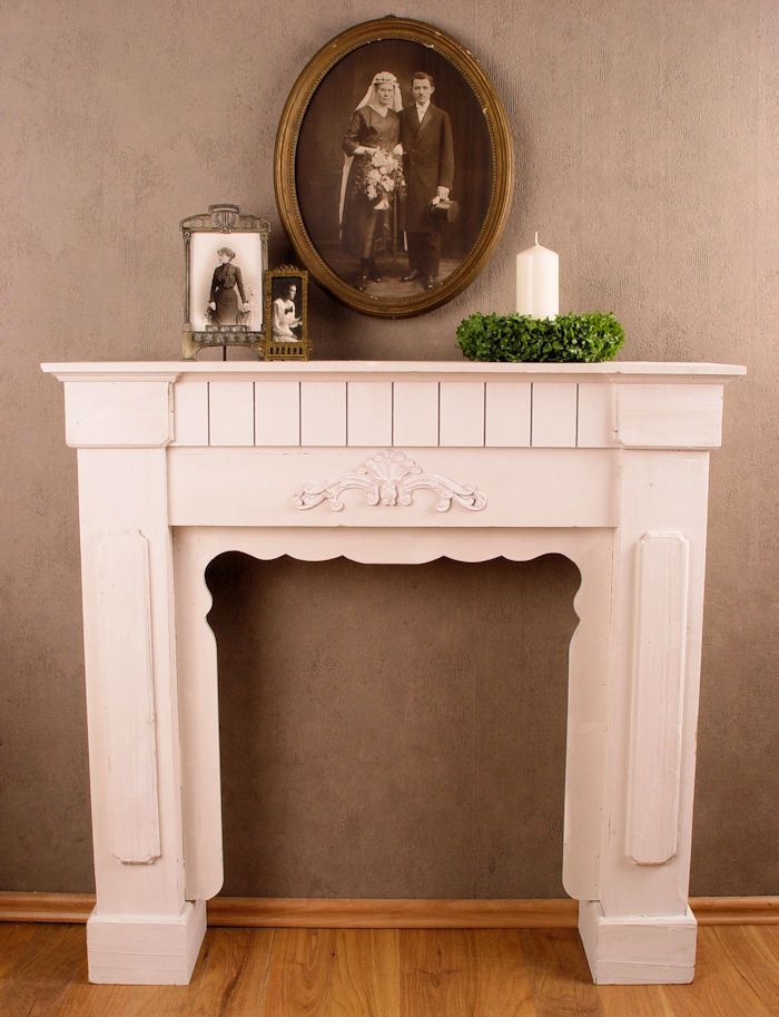 dekokamin shabby chic kaminumrandung konsole weiss kaminkonsole ebay kaminkonsolen. Black Bedroom Furniture Sets. Home Design Ideas